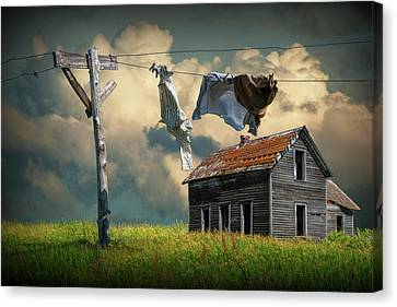 Wash On The Line By Abandoned House Canvas Print
