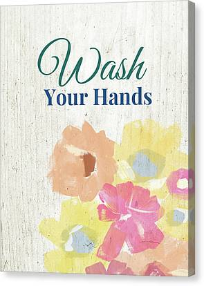 Rose Cottage Gallery Canvas Print - Wash Your Hands Floral -art By Linda Woods by Linda Woods