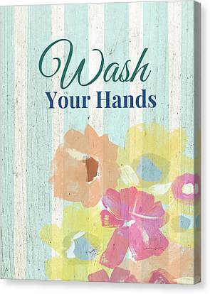 Rose Cottage Gallery Canvas Print - Wash Your Hands Floral Stripe- Art By Linda Woods by Linda Woods