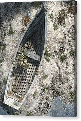 Row Boat Canvas Print - Washed Ashore by Cynthia Decker