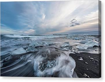 Washed Up Ice Sunset Canvas Print