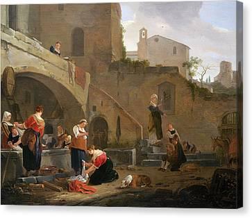 Washerwomen By A Roman Fountain Canvas Print by Thomas Wyck