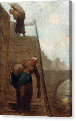 Washerwomen On The Steps Of The Quay Canvas Print by Honore Daumier