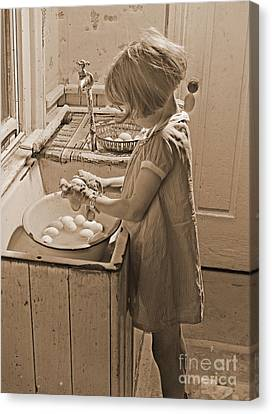 Washing Eggs Sepia Canvas Print by Padre Art