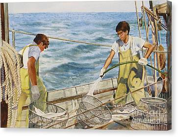 Washing Fish Canvas Print by Karol Wyckoff