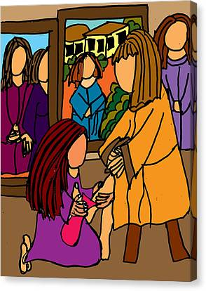 Washing The Feet Of Jesus Canvas Print by Nanette Patricia Evans