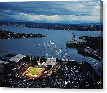 Washington Aerial View Of Husky Stadium Canvas Print by Jay Drowns