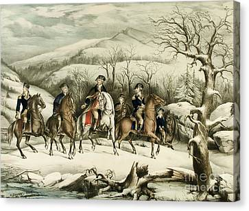 Washington And His Staff At Valley Forge Canvas Print by American School