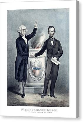 Washington And Lincoln Canvas Print by War Is Hell Store