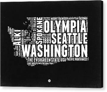Washington Black And White Word Cloud Map Canvas Print by Naxart Studio