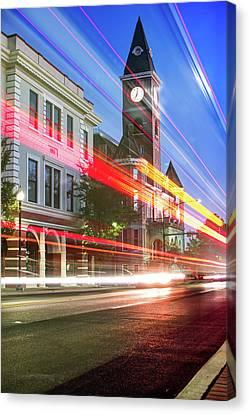 University Of Arkansas Canvas Print - Washington County Courthouse At Night Fayetteville Arkansas by Gregory Ballos