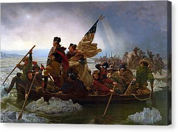 Founding Fathers Canvas Print - Washington Crossing The Delaware Painting by War Is Hell Store