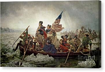 Oil On Canvas Print - Washington Crossing The Delaware River by Emanuel Gottlieb Leutze