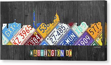 Washington Monument Canvas Print - Washington Dc Skyline Recycled Vintage License Plate Art by Design Turnpike