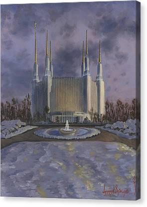 Washington Dc Temple Canvas Print by Jeff Brimley