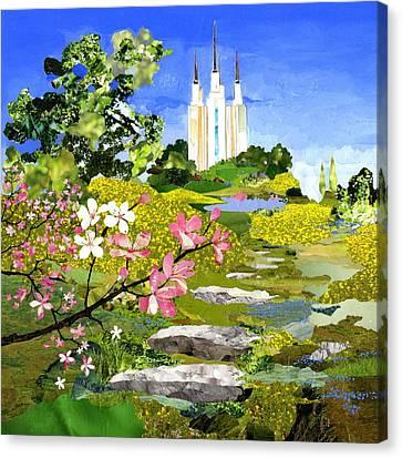 Washington Dc Temple Canvas Print by Robin Birrell