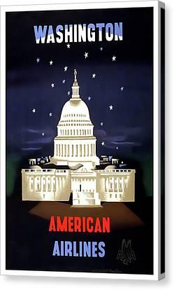 Washington D C Vintage Travel C. 1950 Canvas Print by Daniel Hagerman
