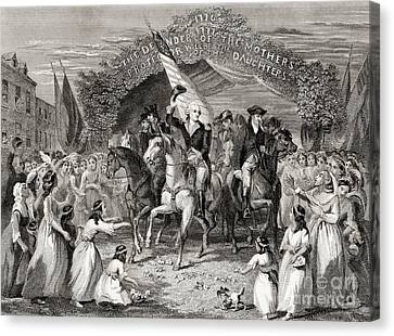 Washington Entering Trenton  New Jersey Usa, 1789 Canvas Print by American School