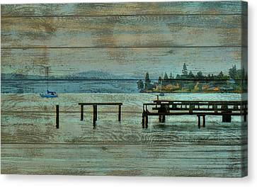 Washington Harbor Barn Door Canvas Print by Dan Sproul