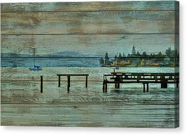 Washington Harbor Barn Door Canvas Print