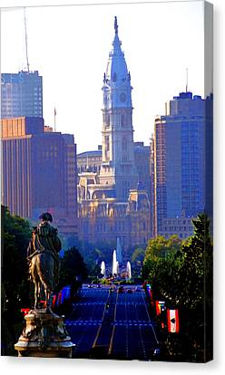 Washington Looking Over To City Hall Canvas Print by Bill Cannon