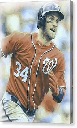 Washington Nationals Bryce Harper 3 Canvas Print by Joe Hamilton