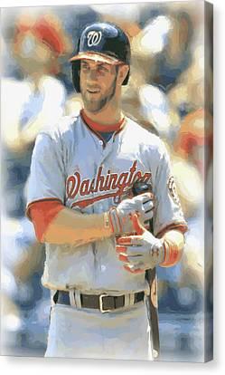 Washington Nationals Bryce Harper Canvas Print by Joe Hamilton