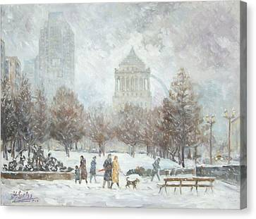 Washington Park In St.louis Winter Canvas Print by Irek Szelag