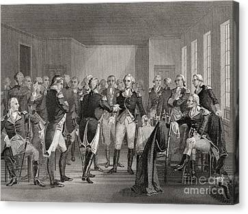 Washington Parting From His Officers At Fraunces Tavern, New York City, Usa, On December 4th 1783 Canvas Print