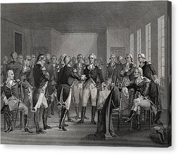 Washington Parting From His Officers At Canvas Print by Vintage Design Pics