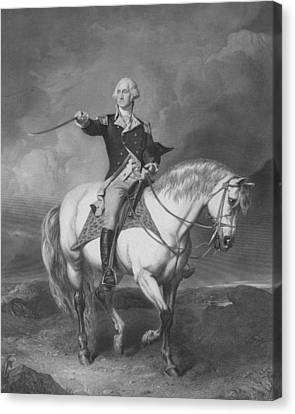 Washington Receiving A Salute At Trenton Canvas Print by War Is Hell Store