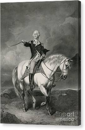 Washington Receiving A Salute On The Field Of Trenton Canvas Print