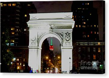 Washington Square Arch And Empire State Bldg 11  Canvas Print by Ken Lerner