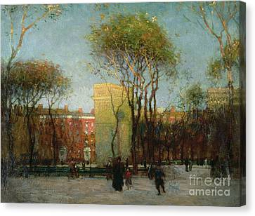 Washington Square New York Canvas Print by Paul Cornoyer
