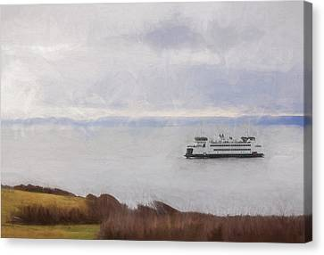 Pacific Northwest Ferry Canvas Print - Washington State Ferry Approaching Whidbey Island by Carol Leigh