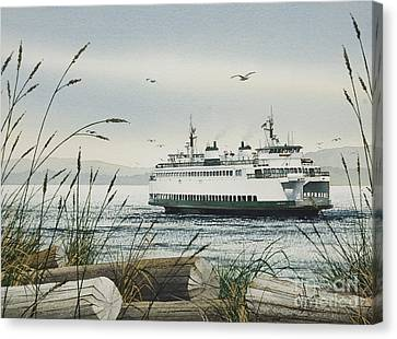 Pacific Northwest Ferry Canvas Print - Washington State Ferry by James Williamson