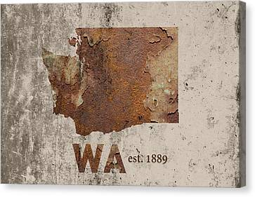 Rust Canvas Print - Washington State Map Industrial Rusted Metal On Cement Wall With Founding Date Series 042 by Design Turnpike
