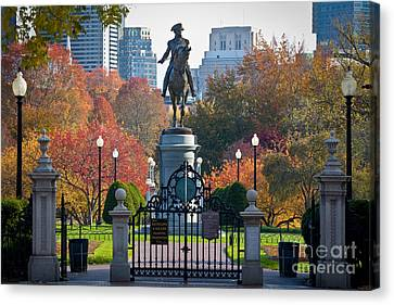 New England Autumn Canvas Print - Washington Statue In Autumn by Susan Cole Kelly