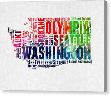 Washington Watercolor Word Cloud Map Canvas Print by Naxart Studio