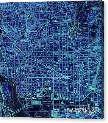 Washington West, Columbia, Old Blue Map, Year 1945 Canvas Print by Pablo Franchi