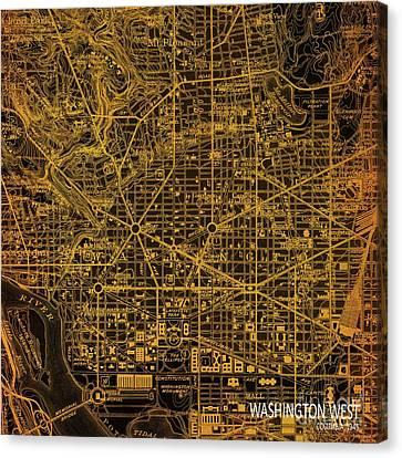 Washington West, Columbia, Old Orange Bronze Map, Year 1945 Canvas Print by Pablo Franchi