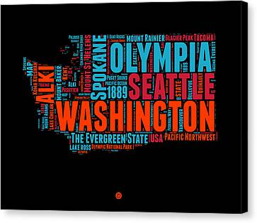 Washington Word Cloud Map 1 Canvas Print by Naxart Studio