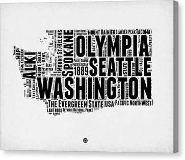 Washington Word Cloud Map 2 Canvas Print