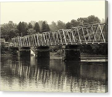 Washington's Crossing Bridge On A Rainy Day Canvas Print by Bill Cannon