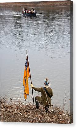 Canvas Print featuring the photograph Washington's Crossing-guiding The Boats by Steven Richman