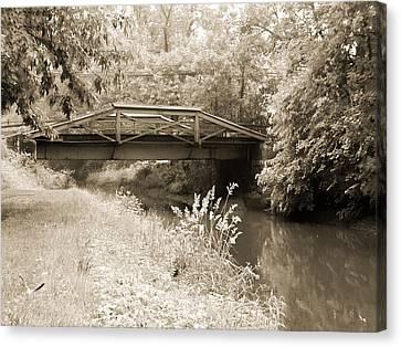Washington's Crossing Pa - Route 532 Bridge Over The Delaware Ca Canvas Print by Bill Cannon