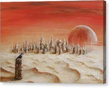 Canvas Print featuring the painting Watcher by Arturas Slapsys