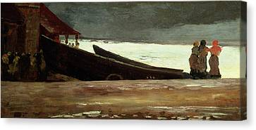 Watching A Storm On The English Coast Canvas Print by Winslow Homer