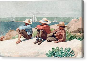 Watching Ships   Gloucester Canvas Print by Winslow Homer