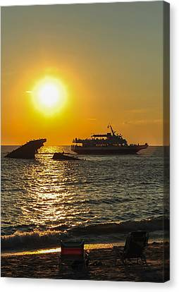 Watching The Ships Sunset Beach Cape May Nj Canvas Print by Terry DeLuco